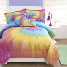 Bright and sunny colors in Rainbow Tie Dye Comforter & Sham Bedding Set.  Can't you see this in a #TeenGirlsRoom #tiedyebedding