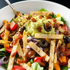 """(Use sprouted grain tortillas and Phase-appropriate toppings) Lentil Taco Salad -- Lentil taco """"meat"""" made in a rice cooker (you'll find stovetop directions in the comments) and crispy tortilla strips in the toaster oven."""