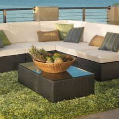 Outdoor U0026 Garden, Thick Green Outdoor Rug With Modern Patio Furniture Set:  4 Simple