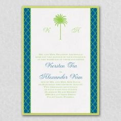 Palm Paradise - Layered Invitation: A majestic palm tree stands tall between the couple's initials at the top of this layered invitation. The side margins of the card are detailed with an elegant graphic design that frames the invitation wording with style. #invitations | Zuriana's Elegant Occasions