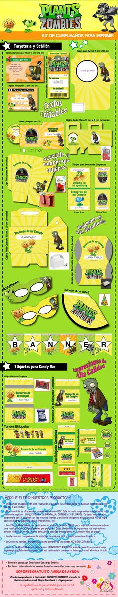 Kit de cumpleaños para imprimir Plantas vs. Zombies Plants Versus Zombies, Zombies Vs, Zombie Birthday Parties, Zombie Party, Boy Birthday, Adele, Ideas Para Fiestas, Party Printables, Biscuits
