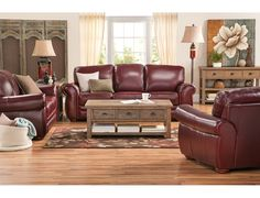 For a sleek and polished look - Gallery Burgundy Sofa Living Room Decor Curtains, Rooms Home Decor, Living Room Chairs, Burgundy Couch, Burgundy Living Room, Leather Couch Decorating, Best Leather Sofa, Leather Couches, Living Room Decor Traditional