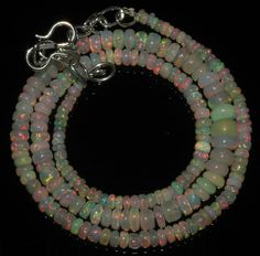 "46 Crts 1 Strands 3 to 7 mm 16"" Beads necklace Ethiopian Welo Fire Opal  A+1611"