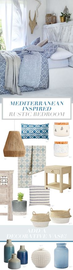 Blue, White & Grey Rustic Summer Bedroom | Design details inspired by the mediterranean, I love the rustic whitewashed wooden door headboard and how it pairs with the blue and white patterned bedding. The all white paint palette on the walls and floors gives a cool and casual feel to the design scheme. Raffia lighting and lanterns lend a textural touch to this blue, white and gray room with a summer feel to the interior design scheme.