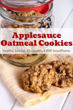 These applesauce oatmeal cookies are simple, wholesome cookies that are easy to make and really satisfying. They smell like apple pie as they bake and are an easy drop cookie with a chewy cake-like consistency. Oatmeal Applesauce Cookies, Healthy Oatmeal Cookies, Oatmeal Cookie Recipes, Protein Cookies, Easy Cookie Recipes, Ww Recipes, Protein Bars, Applesauce Recipes Easy, High Protein