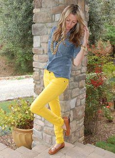 mustard yellow denim