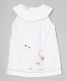 Look at this White & Pink Spring's Coming Yoke Dress - Infant, Toddler & Girls on #zulily today!