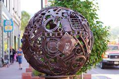 """""""Pea"""" -- Scrap metal sphere, Manitou Springs, Colorado, September 10, 2011 (pinned by haw-creek.com)"""