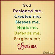 GOD Designed Me, Created Me, Loves Me