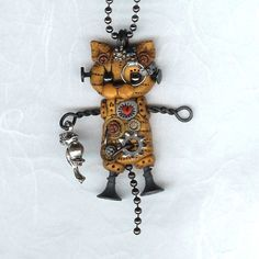 Items similar to Steampunk Yellow Tabby Kitty Cat Robot Necklace Polymer Clay Jewelry on Etsy Polymer Clay Steampunk, Polymer Clay Cat, Sculpey Clay, Polymer Clay Charms, Polymer Clay Creations, Polymer Clay Jewelry, Cat Jewelry, Jewelry Art, Wire Jewelry
