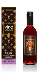 Vino Cacao Noir  A blend of Bordeaux wine and high quality cocoa. Experience the power of pure cocoa, the subtle flavor of morello cherry or vanilla.