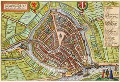Stadsplattegrond van Gouda in 1617 door Braun & Hoogenberg uitgegeven Gouda, City Maps, Historical Maps, Book Pages, Genealogy, Holland, City Photo, Vintage World Maps, Castle