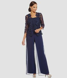 Emma Street 95003 Pant Set in Navy Mother Of The Bride Trouser Suits, Mother Of Groom Dresses, Mothers Dresses, Chiffon Pants, Chiffon Dress, Lace Chiffon, Mob Dresses, Special Dresses, Grandma Dress