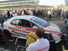 Matt Neal on the British Touring Car grid at Silverstone, about to clinch the 2011 BTCC title. Picture: Jim Munro