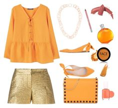 """""""Orange is the new Black"""" by chloe-vidoni ❤ liked on Polyvore featuring Violeta by Mango, Buccellati, Lanvin, Carven, Valentino, Hermès, FACE Stockholm, Essie, Elizabeth Arden and Urban Decay"""