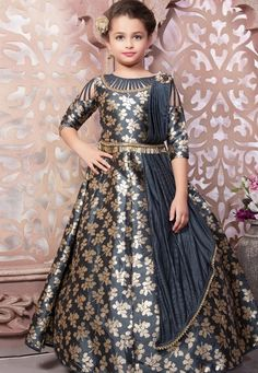 c6a63c0f3 Buy Gray Taffeta Readymade Flared Gown 165438 online at lowest price from  vast collection at Indianclothstore