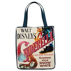 Disney Classic Cinderella Tote Bag | Disney StoreClassic Cinderella Tote Bag - Featuring screen-printed movie poster art from Cinderella, this canvas tote is roomy enough for a shopping spree or a night away from the castle. Lined with blue and white fabric, this bag is a beauty in waiting.
