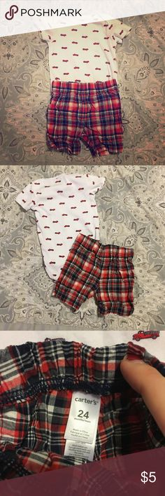 Boys Outfit 👶 FireTruck 🚒 print short sleeve Onesie with plaid shorts; good condition; bundle with other items & make me an offer 😊👍 Carter's Matching Sets