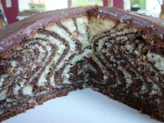 Zebra Cake. Very neat! Simply layer the chocolate and white batter - pictures show how it's done.