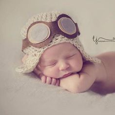 Baby aviator hat -  pilot hat