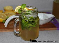 Non-alcoholic mint julep: I made this from one of BHM's old recipes, courtesy of Alice Brantley Yeager. It was good; I will definitely be making it again.