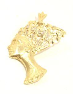 14k Solid Gold Queen Nefertiti Pendant Egyptian Unique Intricate Free Shipping #Pendant