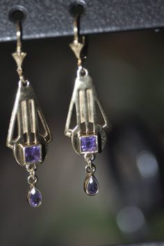 Sterling Silver Bezel set Square Amethyst Lever by finntastic2006