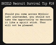 S.H.I.E.L.D. Recruit Survival Tip #18:Should you come across Mjölnir left unattended, you should not take the opportunity to decorate it like a spirit stick. Thor will not be pleased.