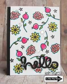 Lawn Fawn Hello die; botanicals; The Alley Way Clear Stamps WISPY WISHES
