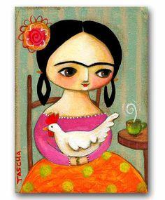 ORIGINAL acrylic portrait painting FRIDA Kahlo with by tascha