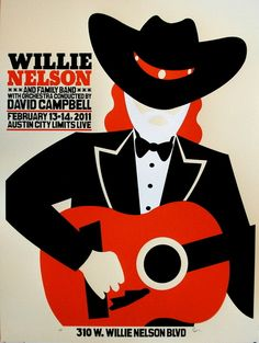 Willie Nelson concert poster by Jaime Cervantes (SOLD OUT)