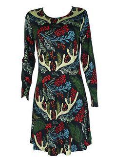 Printed Long Sleeve Round Neck Dress