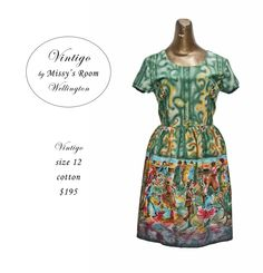 New dress, made by us in Wellington, from medium weight vintage cotton. Only two dresses were made from this fabric. SOLD OUT