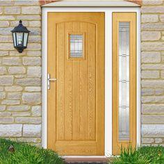 GRP Oak Cottage Glazed Composite Door with Single Sidelight. #doorwithscreen #compositedoor #frontdoor