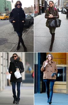 Olivia palermo in cold weather clothing and moto boots