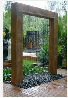 Outdoor waterfall -- great for street noise reduction, very soothing and relaxing.
