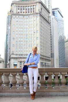 Chicago! (Photo Overload) via BrooklynBlonde.com / @brooklynblonde  Button Down: Top Shop | Jeans: Paige (similar) | Belt: J Crew | Booties: Rag & Bone Monday, July 8, 2013