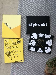 Sorority Big/Little Canvas #biglittlecanvas Used stencils for the black ones, and sharpie markers for the yellow one