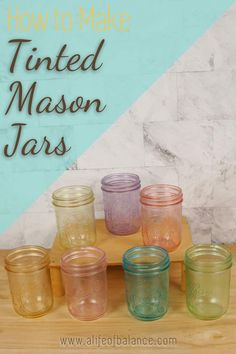 I just love using colored glass jars in to decorate my home. They can be used in so many different ways. Fill them with flowers, candy, pasta or seashells to add a splash of color to any spot in your home. Here is how to make tinted mason jars using food coloring and mod podge. I'll teach you how to apply mod podge without streaks and how to make the jars so that they can have water in them without diluting the color. This is an easy craft that you can decorate with year-round. Diy Crafts For Gifts, Summer Crafts, Craft Stick Crafts, Easy Crafts, Craft Ideas, Tinted Mason Jars, Ball Mason Jars, Mod Podge Glass, Tinting Glass