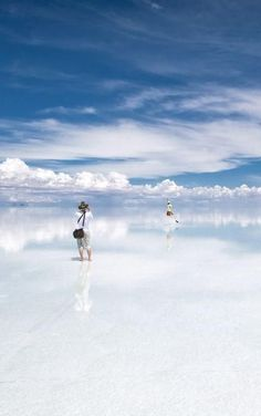 Salar de Uyuni, Bolivia... During rainy season, the water turns the salt flat into the worlds largest mirror.