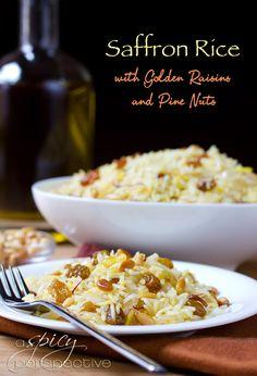 Saffron Rice with Golden Raisins and Pine Nuts #vegan #glutenfree #recipes