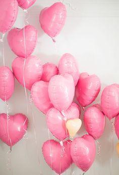 pink, heart-shaped balloons