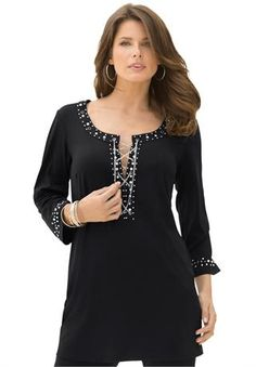 Ultra Smooth Lace Up Chain Tunic by Denim 24/7