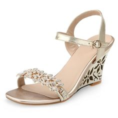 (36.54$)  Buy here - http://airjk.worlditems.win/all/product.php?id=32800887381 - Free shipping 2017 Summer Women's Wedges Heel shoes fashion ladies handmade golden Rhinestone sandals for women Size:33-43