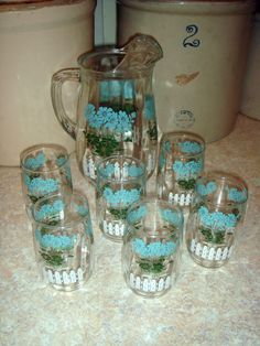 "Vintage Glass Pitcher  6 Juice Glasses ""White Picket Fence  Aqua-Blue Daisy's"""