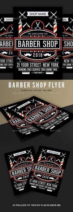 Buy Barber Shop Flyer Template by dhingra on GraphicRiver. Fully editable and Size ( CMYK Colo. Gentleman's Cut, Typography Design, Logo Design, Graphic Design, Wedding Jewelry For Bride, Flower Symbol, Promotional Flyers, Beard Clippers, Symbol Logo