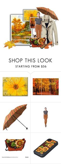 """""""Fall Plaid with Sunflower Accessories"""" by wackyworkshop ❤ liked on Polyvore featuring Ready2hangart"""