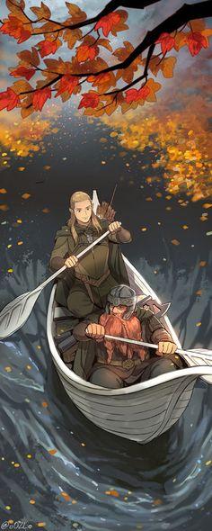 m High Elf Ranger m Dwarf Ranger canoe river lake deciduous forest Legolas y Gimli