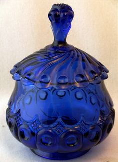 Cobalt blue KINGS 500 sugar bowl EAPG