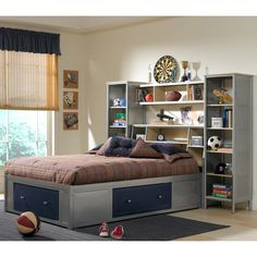 Hillsdale - Universal Youth Storage 4 Piece Twin Platform Bedroom Set With Bookcase Headboard & Wall Storage - Bookcase Bed, Platform Bedroom Sets, Headboards For Beds, Platform Bedroom, Hillsdale Furniture, Bookcase Headboard, Bedroom Furniture, Kid Beds, Shelves In Bedroom